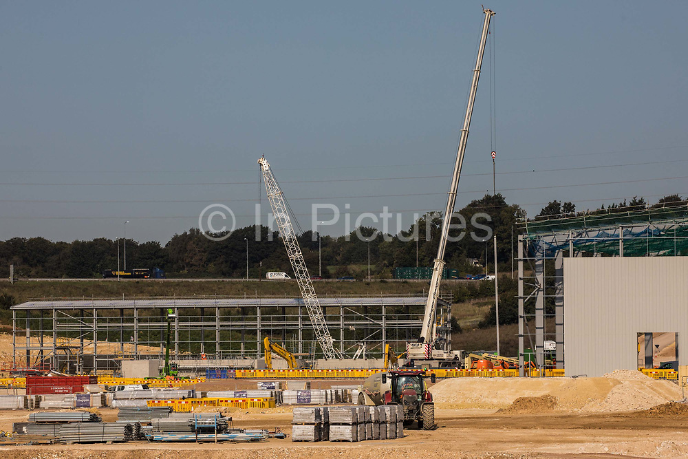 Preparatory works for the HS2 high-speed rail link at the South Portal site are pictured on 14 September 2020 in West Hyde, United Kingdom. A 17m headwall for the 10-mile Chiltern Tunnel was recently completed at the site as a prelude to three years of drilling through the Chilterns using two German-made 2,000 tonne tunnel boring machines (TBMs).