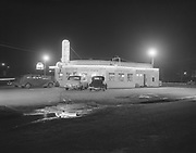 "Ackroyd 02064-1. ""Oregon Sports Service. Night shots of buildings for score card ads. March 7, 1950""  (Fabres Drive-In. 5145 SE McLaughlin. Torn down to build The Corral in 1955, SE 18th Ave. & 99E. Presently site of the Blush night club.)"