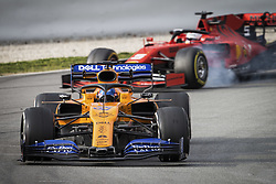 February 20, 2019 - Barcelona, Spain - 55 SAINZ Carlos (spa), McLaren Renault F1 MCL34, 05 VETTEL Sebastian (ger), Scuderia Ferrari SF90, action during Formula 1 winter tests from February 18 to 21, 2019 at Barcelona, Spain - Photo  /  Motorsports: FIA Formula One World Championship 2019, Test in Barcelona, (Credit Image: © Hoch Zwei via ZUMA Wire)