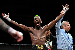 April 13, 2018 - Minnesapolis, MN, USA - Chris Colbert, of Brooklyn, celebrates after defeating Austin Dulay, of Nashville, Tenn., in their lightweight match at the Armory in Minneapolis on Friday, April 13, 2018. (Credit Image: © Aaron Lavinsky/TNS via ZUMA Wire)