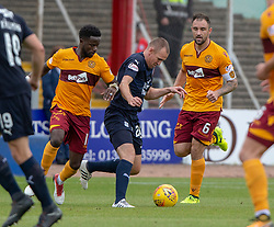 Motherwell's Gael Bigirimana  and Dundee's Kenny Miller. Dundee 1 v 3 Motherwell, SPFL Ladbrokes Premiership game played 1/9/2018 at Dundee's Kilmac stadium Dens Park