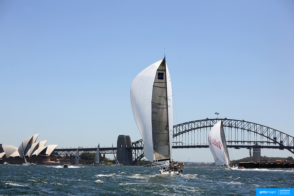 Wild Oats XI heads for victory in the Solas Big Boat Challenge followed by  Skandia on Sydney Harbour on December 16, 2008 in Sydney, Australia. The race conducted in the waters around Sydney Harbour, is a preliminary tournament to the Rolex Sydney Hobart Yacht race 2008 which will start of Boxing Day, December 26th.. Wild Oats XI achieved a hat trick of line honours wins when it won the Sydney to Hobart race last year equaling Morna's record achieved in the 1946-1948 races. Wild Oats XI will return to attempt a fourth successive line honours win in this years race. Photo Tim Clayton