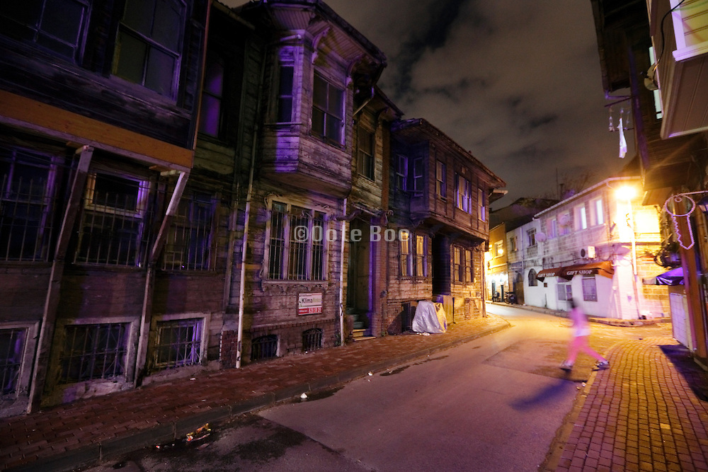 old style wooden housing in the old city Sultanahmet area of Istanbul Turkey
