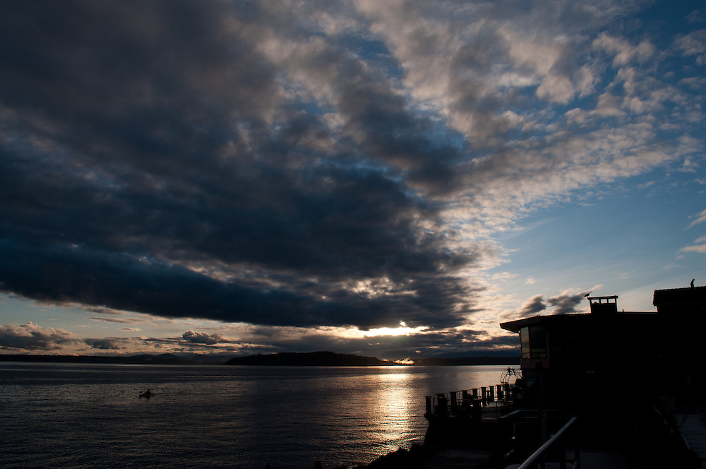 A stormy sunset at Alki Point in Seattle, Washington.