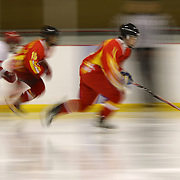 A blur of motion and movement as China attack during the China V Turkey match during the 2012 IIHF Ice Hockey World Championships Division 3 held at Dunedin Ice Stadium. Dunedin, Otago, New Zealand. 19th January 2012. Photo Tim Clayton