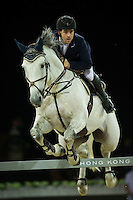 Emanuele Gaudiano on Caspar 232 competes during the Hong Kong Jockey Club Trophy at the Longines Masters of Hong Kong on 19 February 2016 at the Asia World Expo in Hong Kong, China. Photo by Juan Manuel Serrano / Power Sport Images