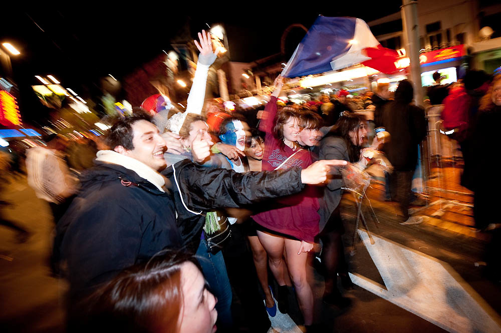 French supporters at Courtenay Place Fanzone after the Quarterfinal, Ireland v Wales at the IRB Rugby World Cup 2011. Wellington Regional Stadium, Wellington. Saturday 8 October 2011...Photo: Mark Tantrum/www.marktantrum.com