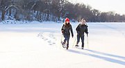 Lifestyle for Wisconsin Union Hoofers snowshoeing OutdoorUW. (Photo © Andy Manis)