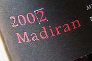 Bottle of detail of label Madiran 2002 Madiran France