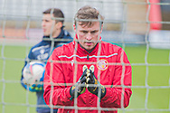 Stevenage goalkeeper David Stockdale looking in focus and warming up before the EFL Sky Bet League 2 match between Stevenage and Morecambe at the Lamex Stadium, Stevenage, England on 6 February 2021.