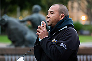 Organiser addresses the crowd about to march on Parliament House at the Archibald Fountain in Hyde Park on 02 June, 2020 in Sydney, Australia. Black Lives Matter protest was arranged by Australian Communist Party with Australia's First Nations People following the killing of an unarmed black man George Floyd at the hands of a police officer in Minneapolis, Minnesota. (Photo by Pete Dovgan/ Speed Media)