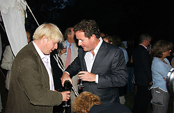 Left to right, BORIS JOHNSON MP and PIERS MORGAN at a party to celebrate the publication of Notting Hell by Rachel Johnson held in the gardens of 1 Rosmead Road, London W11 on 4th September 2006.<br /><br />NON EXCLUSIVE - WORLD RIGHTS