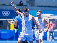 TOKIO -  Alexander Hendrickx (Bel) heeft gescoord tijdens de hockeywedstrijd in de halve finale wedstrijd heren , Belgie-India (5-2),   tijdens de Olympische Spelen van Tokio 2020. België plaatst zich voor de finale COPYRIGHT KOEN SUYK