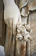 Roman marble sculpture known as the 'Flora Maggiore' , a 2nd century AD, inv no 5978 Farnese Collection, Naples   Museum of Archaeology, Italy ..<br /> <br /> If you prefer to buy from our ALAMY STOCK LIBRARY page at https://www.alamy.com/portfolio/paul-williams-funkystock/greco-roman-sculptures.html . Type -    Naples    - into LOWER SEARCH WITHIN GALLERY box - Refine search by adding a subject, place, background colour, museum etc.<br /> <br /> Visit our ROMAN WORLD PHOTO COLLECTIONS for more photos to download or buy as wall art prints https://funkystock.photoshelter.com/gallery-collection/The-Romans-Art-Artefacts-Antiquities-Historic-Sites-Pictures-Images/C0000r2uLJJo9_s0
