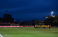 Football - 2018 / 2019 Emirates FA Cup - Fifth Round: Newport County vs. Manchester City<br /> <br /> Players observe a minute's applause for Gordon Banks OBE who died earlier this week, at Rodney Parade.<br /> <br /> COLORSPORT/ASHLEY WESTERN