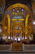 Medieval Byzantine style mosaics of the main aisle & altar,  Palatine Chapel, Cappella Palatina, Palermo, Italy .<br /> <br /> If you prefer you can also buy from our ALAMY PHOTO LIBRARY  Collection visit : https://www.alamy.com/portfolio/paul-williams-funkystock/byzantine-art-antiquities.html . Type -    Palatine     - into the LOWER SEARCH WITHIN GALLERY box. Refine search by adding background colour, place, museum etc<br /> <br /> Visit our BYZANTINE MOSAIC PHOTO COLLECTION for more   photos  to download or buy as prints https://funkystock.photoshelter.com/gallery-collection/Roman-Byzantine-Art-Artefacts-Antiquities-Historic-Sites-Pictures-Images-of/C0000lW_87AclrOk