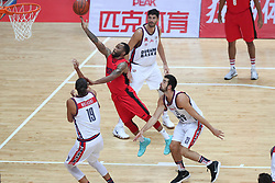 WENG'AN, Aug. 24, 2018  Kevin Thomas (2nd L) of the United States goes up for a shoot during a match against Italy at the 2018 Weng'an International Men's Basketball Championship in Weng'an, southwest China's Guizhou Province, Aug. 24, 2018.  The United States won 87-80. (Credit Image: © Liuxu@Xinhua/Xinhua via ZUMA Wire)