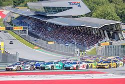 08.06.2019, Red Bull Ring, Spielberg, AUT, ADAC GT Masters Spielberg, Rennen, im Bild v.l.: Timo Bernhard (GER)/Klaus Bachler (AUT) Porsche 911 GT3 R, Ricardo Feller (SUI)/Dries Vanthoor (BEL) Audi R8 LMS, Patric Niederhauser (SUI)/Kelvin van der Linde (ZAF) Audi R8 LMS // f.l.: German ADAC GT Masters driver Timo Bernhard/Austrian ADAC GT Masters driver Klaus Bachler Porsche 911 GT3 R Swiss ADAC GT Masters driver Ricardo Feller/Belgian ADAC GT Masters driver Dries Vanthoor Audi R8 LMS Swiss ADAC GT Masters driver Patric Niederhauser/South African ADAC GT Masters driver Kelvin van der Linde Audi R8 LMS during the race for the ADAC GT Masters at the Red Bull Ring in Spielberg, Austria on 2019/06/08. EXPA Pictures © 2019, PhotoCredit: EXPA/ Dominik Angerer
