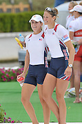 Poznan, POLAND, USA W2-,  Bow Zsusanna FRANCIA and Erin CAFARO, Gold medalist the women's pair move into the awards dock  at the 2009 FISA World Rowing Championships. held on the Malta Rowing lake, Saturday  29/08/2009  [Mandatory Credit. Peter Spurrier/Intersport Images]