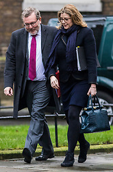 © Licensed to London News Pictures. 20/02/2018. London, UK. Secretary of State for International Development Penny Mordaunt (R) and Scotland Secretary David Mundell (L) arrive on Downing Street for the weekly Cabinet meeting. Photo credit: Rob Pinney/LNP