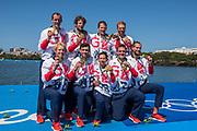 "Rio de Janeiro. BRAZIL     GBR M8+. Gold Medalist Bow. Bow. <br /> Scott DURANT, Tom RANSLEY, T Andrew T<br /> HODGE,  Matt GOTREL,  Pete REED,  Paul<br /> BENNETT,  Matt LANGRIDGE,   William SATCH and Cox. Phelan HILL, at the, 2016 Olympic Rowing Regatta. Lagoa Stadium, Copacabana,  ""Olympic Summer Games""<br /> Rodrigo de Freitas Lagoon, Lagoa. Local Time 12:15:35  Saturday  13/08/2016<br /> [Mandatory Credit; Peter SPURRIER/Intersport Images]"