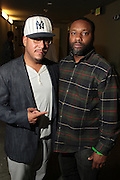 September 22, 2012- Los Angeles, CA:  (L-R) Danny Castro, Co-founder  Producer, Lyricists Lounge and Music Executive D' Prosper backstage at the Lyricist Lounge 20th Year Reunion Party-Los Angeles held at Club Nokia at LA Live on September 22, 2012 in Los Angeles, California. The Lyricist Lounge is a hip hop showcase of rappers, emcees, DJ's, and Graffiti artists. It was founded in 1991 by hip hop aficionados Danny Castro and Anthony Marshall. It was a series of open mic events hosted in a small studio apartment in the Lower East Side section of New York City. (Terrence Jennings)