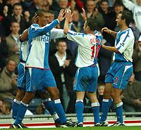 Photo: Back Page Images. 30/10/2004.<br /> Barclays Premiership. Blackburn Rovers v Liverpool. Ewood Park.<br />  Jay Bothroyd celebrtaes his equaliser
