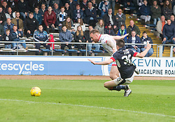 Dundee's Cammy Kerr brought down for their penalty. Dundee 1 v 1 Ross County, SPFL Ladbrokes Premiership played 13/5/2017 at Dens Park.