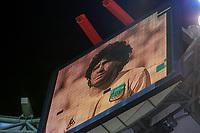 PIRAEUS, GREECE - NOVEMBER 25: Tribute for Diego Maradona on the stadium matrix during the UEFA Champions League Group C stage match between Olympiacos FC and Manchester City at Karaiskakis Stadium on November 25, 2020 in Piraeus, Greece. (Photo by MB Media)