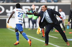 May 13, 2018 - Gent, BELGIUM - Gent's Moses Simon and Gent's head coach Yves Vanderhaeghe celebrate after scoring during the Jupiler Pro League match of Play-Off group 1, between KAA Gent and RSC Anderlecht, in Gent, Sunday 13 May 2018, on day nine of the Play-Off 1 of the Belgian soccer championship. BELGA PHOTO VIRGINIE LEFOUR (Credit Image: © Virginie Lefour/Belga via ZUMA Press)