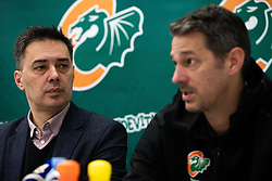 Davor Uzbinec during press conference when Jurica Golemac (R) was introducted as a new head coach for KK Cedevita Olimpija  on January 28, 2020 in Arena Stozice, Ljubljana, Slovenia. Photo By Grega Valancic / Sportida