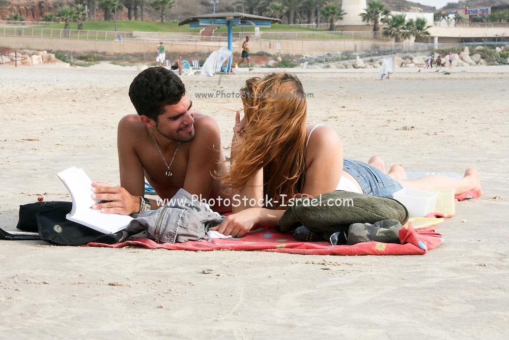 Israel, Herzliya The beach couple on the beach