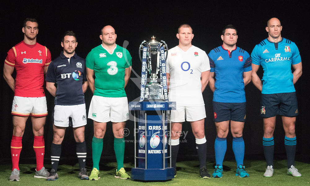 Hurlingham Club, London, January 27th 2016. Team captains, lef to right, Sam Warburton - Wales, Greig Laidlaw - Scotland,  Rory Best - Ireland, Dylan Hartley - England, Guilhem Guirado - France and Sergio Parisse - Italy pose with the tournament trophy at the launch of the RBS Six Nations Rugby Tornament. ///FOR LICENCING CONTACT: paul@pauldaveycreative.co.uk TEL:+44 (0) 7966 016 296 or +44 (0) 20 8969 6875. ©2015 Paul R Davey. All rights reserved.