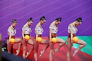 The national team of Bulgaria during team final at the Pesaro World Championships at Virtifigo Arena, May 30, 2021.