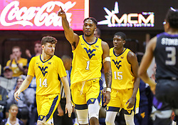 Feb 18, 2019; Morgantown, WV, USA; West Virginia Mountaineers forward Derek Culver (1) celebrates during the second half against the Kansas State Wildcats at WVU Coliseum. Mandatory Credit: Ben Queen-USA TODAY Sports