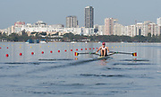 "Rio de Janeiro. BRAZIL.   BEL M1X. Hannes OBRENO, at the start.2016 Olympic Rowing Regatta. Lagoa Stadium,<br /> Copacabana,  ""Olympic Summer Games""<br /> Rodrigo de Freitas Lagoon, Lagoa. Local Time 08:47:58   Saturday  06/08/2016 <br /> <br /> [Mandatory Credit; Peter SPURRIER/Intersport Images]"