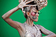 Model posing for photographers at the International Bodypainting Festival in Daegu.