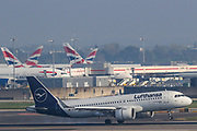 A Lufthansa airline plane is seen landing at Heathrow Cargo centre runway 27L on Thursday, April 16, 2020. <br /> With passenger travel set to fall 90% in April, the UK air hub is prioritising cargo, especially medical supplies. The number of cargo-only flights at Heathrow has surged to five times normal levels, with the airport now saying it is prioritising medical supplies as passenger travel grinds to a halt. (Photo/Vudi Xhymshiti)