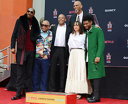 Composer Quincy Jones gets his hands and footprints in cement at the TCL Chinese Theatre in Hollywood, Ca<br />
