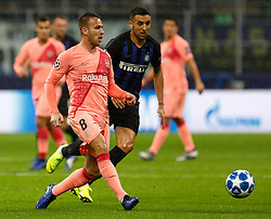 November 6, 2018 - Milan, Italy - Matias Vecino (C) of Inter Milan and Arthur of Barcelona vie for the ball during the Group B match of the UEFA Champions League between FC Internazionale and FC Barcelona on November 6, 2018 at San Siro Stadium in Milan, Italy. (Credit Image: © Mike Kireev/NurPhoto via ZUMA Press)