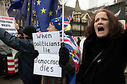 Anti Brexit protesters waving European Union flags in Westminster outside Parliament on 8th January 2020 in London, England, United Kingdom. With a majority Conservative government in power and Brexit day at the end of January looming, the role of these protesters is now to demonstrate in the hope of the softest Brexit deal possible.