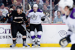 Luca Sbisa (Anaheim Ducks, #5) vs Drew Doughty (Los Angeles Kings, #8) during ice-hockey match between Anaheim Ducks and Los Angeles Kings in NHL league, Februar 23, 2011 at Honda Center, Anaheim, USA. (Photo By Matic Klansek Velej / Sportida.com)