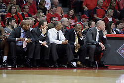 20 March 2017:  Johnny Dawkins and his staff during a College NIT (National Invitational Tournament) 2nd round mens basketball game between the UCF (University of Central Florida) Knights and Illinois State Redbirds in  Redbird Arena, Normal IL<br /> <br /> Jamill Jones on left.