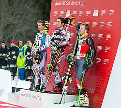 22.12.2013, Gran Risa, Alta Badia, ITA, FIS Ski Weltcup, Alta Badia, Riesenslalom, Herren, Siegerpraesentation, im Bild v.l.n.r. Alexis Pinturault (FRA, 2. Platz), Marcel Hirscher (AUT, 1. Platz), Ted Ligety (USA, 3. Platz) // v.l.t.r. 2nd place Alexis Pinturault of France, 1st place Marcel Hirscher of Austria and 3rd place Ted Ligety of the USA Celebrate on Podium after Giant Slalom of the Alta Badia FIS Ski Alpine World Cup at the Gran Risa Course in Alta Badia, Italy on 2012/12/22. EXPA Pictures © 2013, PhotoCredit: EXPA/ Erich Spiess