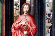 Altarpiece of St John the Baptist and St John the Evangelist, 1474-1479. Triptych. Oil on oak panel.  Hans Memling (1430/1440-1494) South Netherlandish painter. St John , detail from central panel.