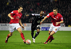 Bristol City's Jamal Campbell-Ryce Battles for the ball with Nottingham Forest's Luke Chambers  and Nottingham Forest's Chris Cohen  - Photo mandatory by-line: Matt Bunn/JMP - 25/01/2011 - SPORT - FOOTBALL - npower championship-Nottingham Forest v Bristol city-City Ground-Nottingham