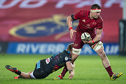 March 23, 2019 - Limerick, Ireland - CJ Stander of Munster tackled by Giulio Bisegni of Zebre during the Guinness PRO14 match between Munster Rugby and Zebre at Thomond Park Stadium in Limerick, Ireland on March 23, 2019  (Credit Image: © Andrew Surma/NurPhoto via ZUMA Press)