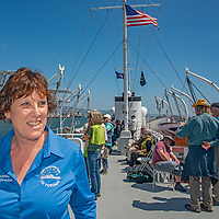 """The USS Potamac, once President Franklin D. Roosevelt's """"Floating White House,"""" is now preserved  as a museum and offers tours of San Francisco Bay, California. Shown here is executive director Domini Maffei Schmid."""