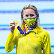 TOKYO, JAPAN - JULY 28:  Ariarne Titmus of Australia holds her gold medal after winning the 200m freestyle for women during the Swimming Finals at the Tokyo Aquatic Centre at the Tokyo 2020 Summer Olympic Games on July 28, 2021 in Tokyo, Japan. (Photo by Tim Clayton/Corbis via Getty Images)