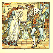 Ye Good King Arthur From the Book '  The baby's opera : a book of old rhymes, with new dresses by Walter Crane, and Edmund Evans Publishes in London and New York by F. Warne and co. in 1900
